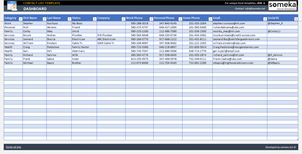 Excel Contact List Template Contact Database Template