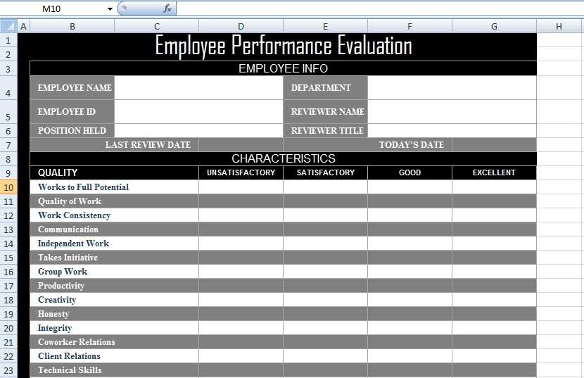 Employee Performance Evaluation Form XLS Free Excel