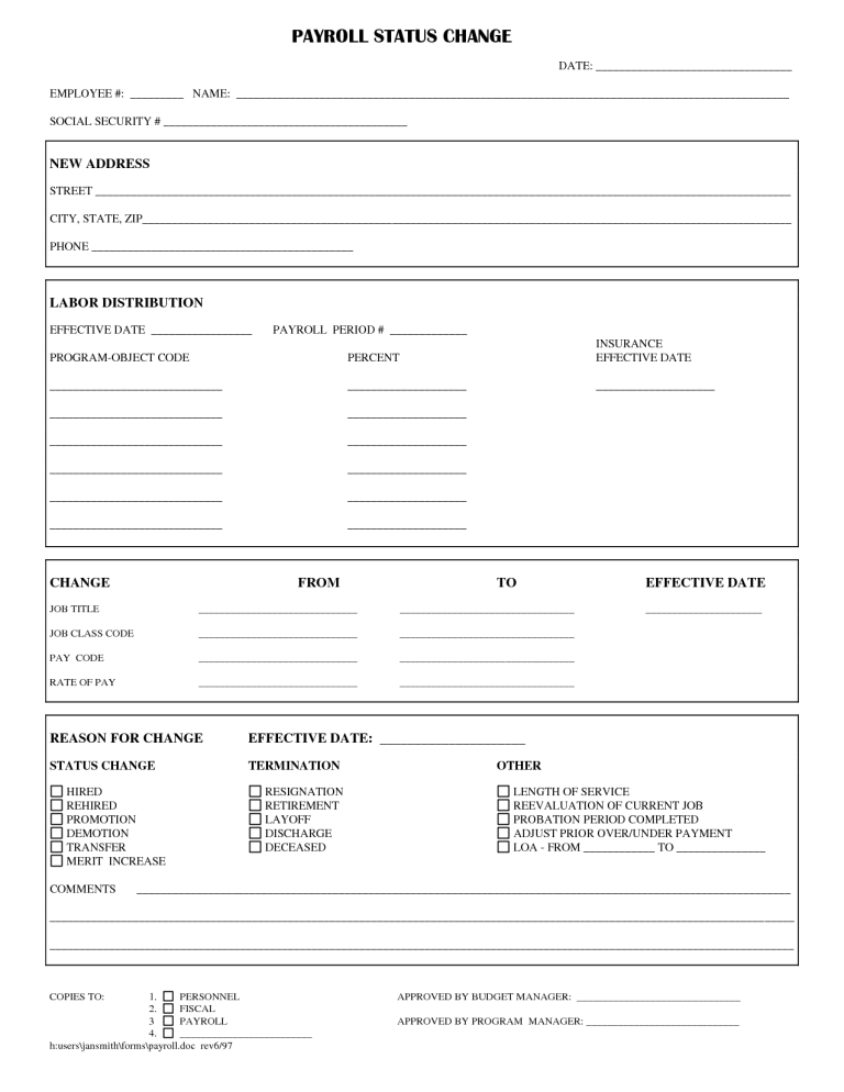 Employee Status Change Forms Word Excel Fomats Word