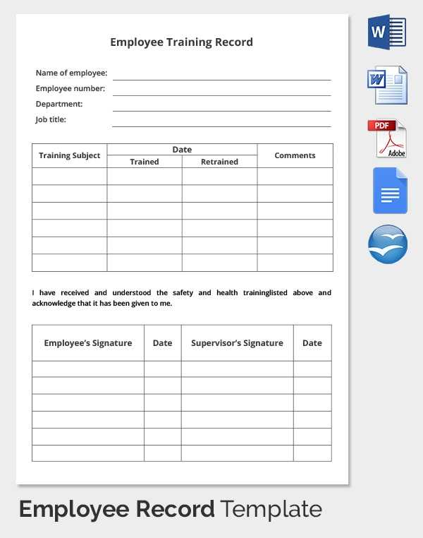 Employee Training Record Template Excel Printable