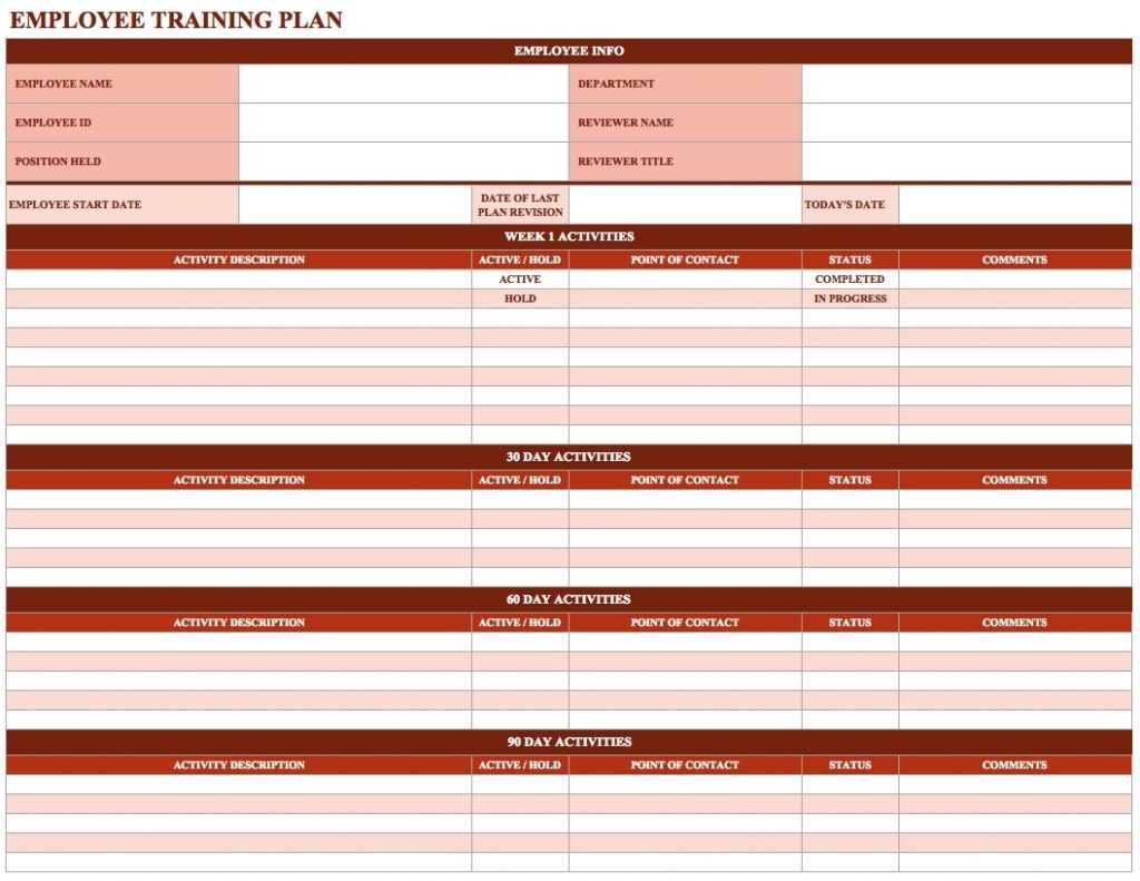 Employee Training Schedule Template In Ms Excel