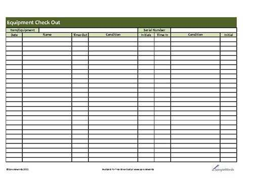 Printable Equipment Checkout Form Download PDF Template