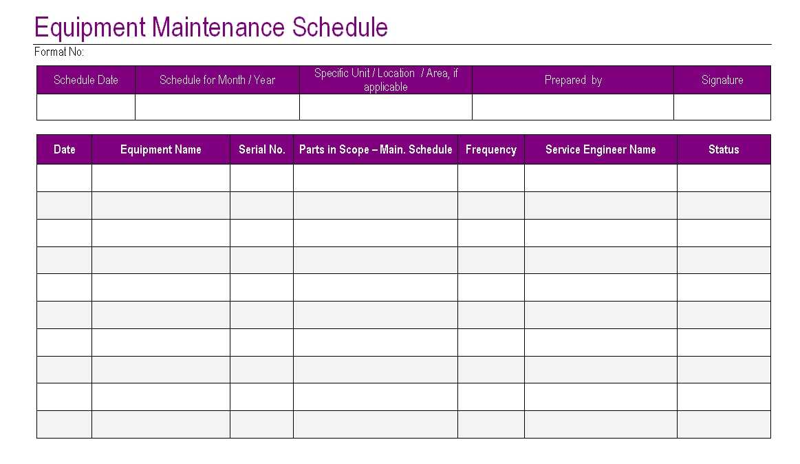 Equipment Maintenance Schedule Template Excel Task List