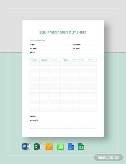 Equipment Sign Out Sheet Template PDF Word DOC