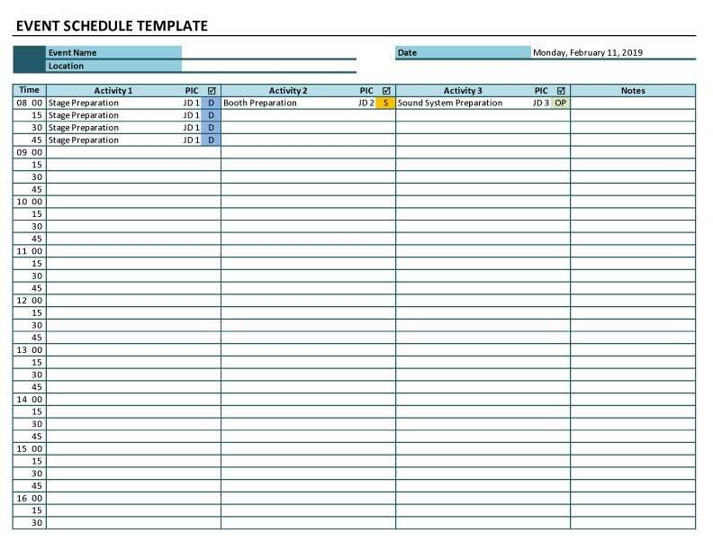 Event Schedule Excel Template ExcelTemplate