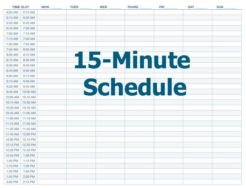 Appointment Schedule Template 15 Minute Increments