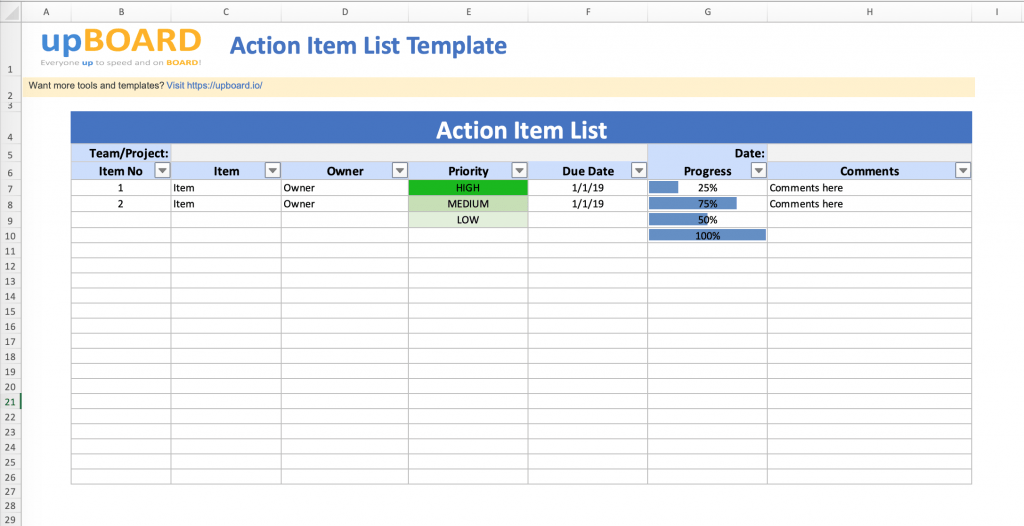 Action Item Lists Digital Online Tools Templates
