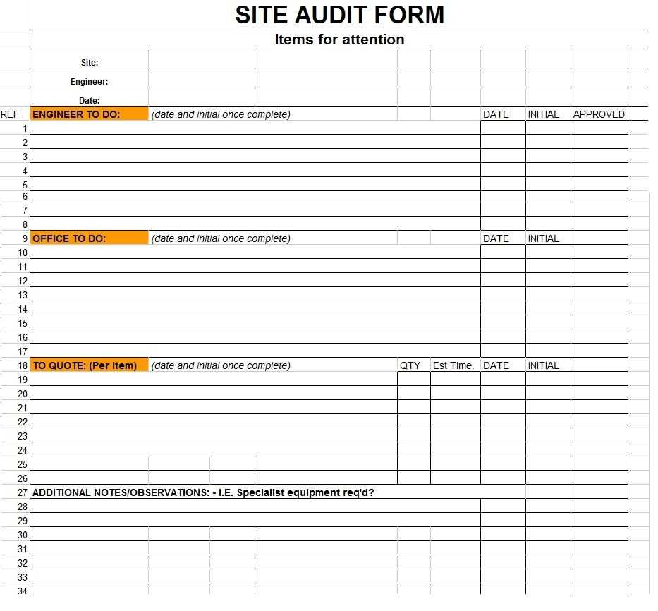 Excellent Sample Of Site Audit Form Template In Excel