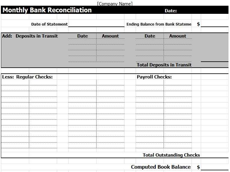 Bank Reconciliation Template In Excel