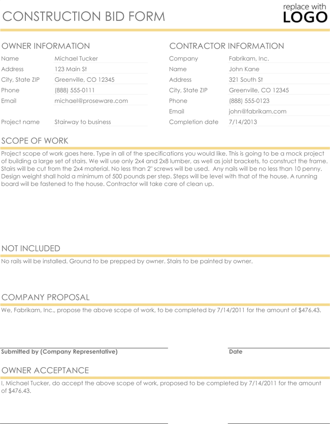 Construction Proposal Quote Templates Download In
