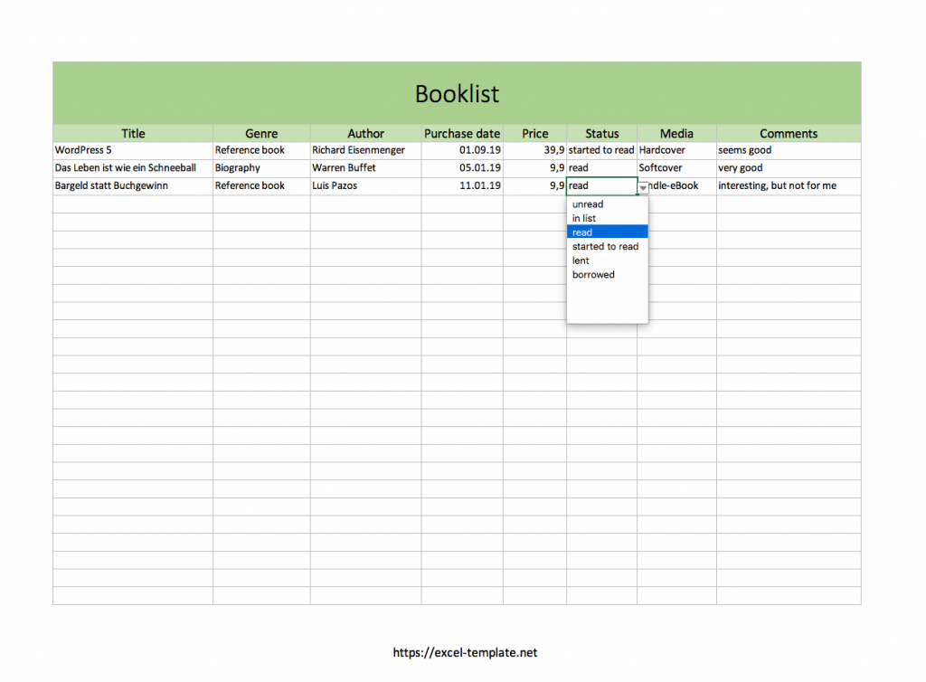 Book Collection List With Excel template
