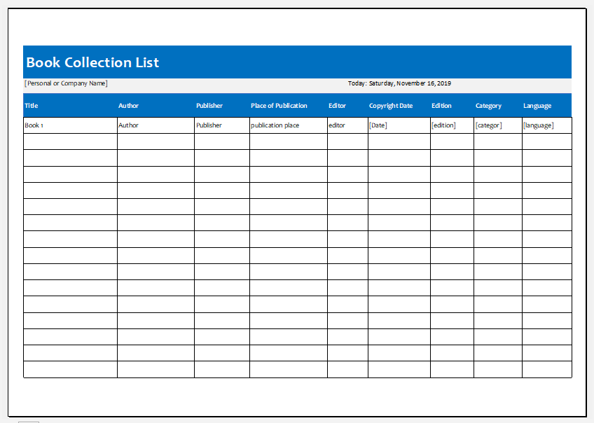 Printable Book Inventory Template For Excel Excel Templates