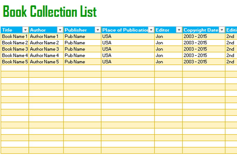 Book Tracking List Template For Excel Dotxes