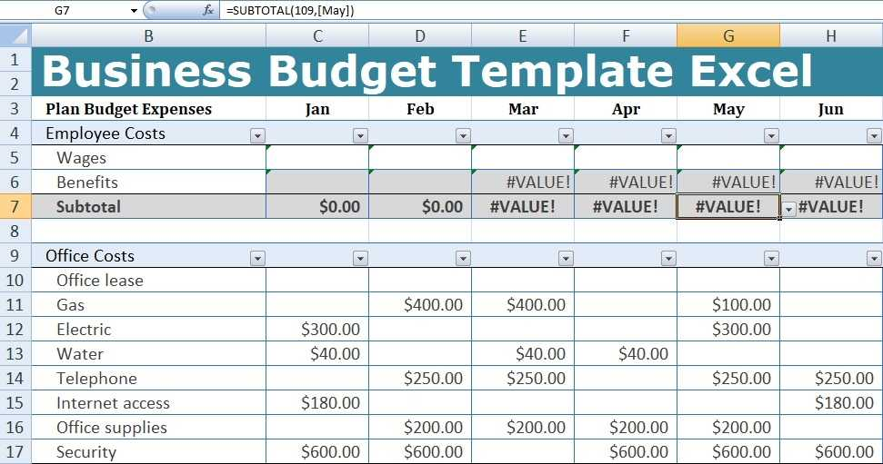 Business Budget Template Excel Free Excel Spreadsheets