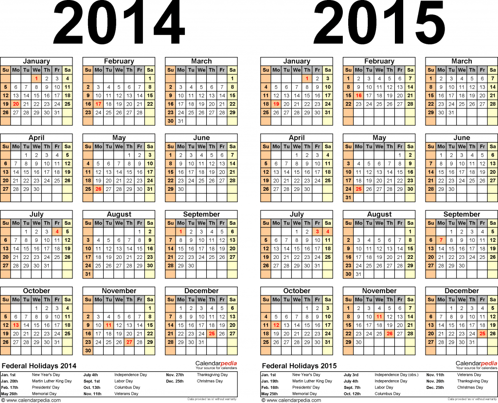 Template 2 Excel Template For Two Year Calendar 2014 2015