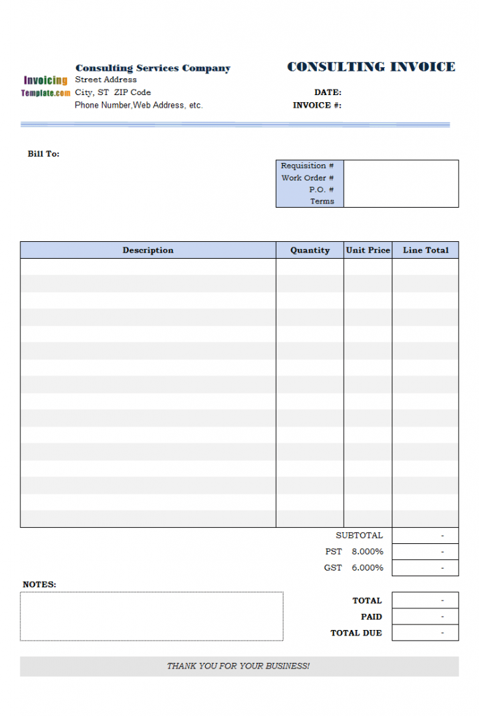 Consulting Invoice Template 1st Sample Of Customization