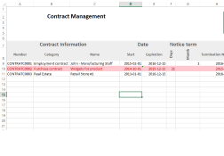 Contract Management Excel Template Expiration Reminder