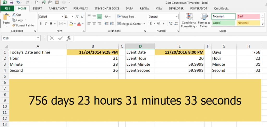 Create A Countdown Timer With Dates In Excel Steve Chase