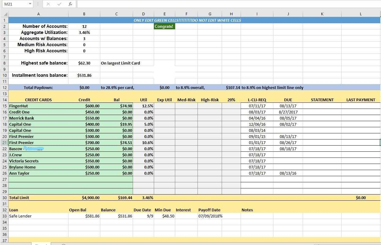 Credit Card Utilization Tracking Spreadsheet Credit Warriors