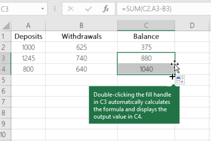 Calculate A Running Balance Excel