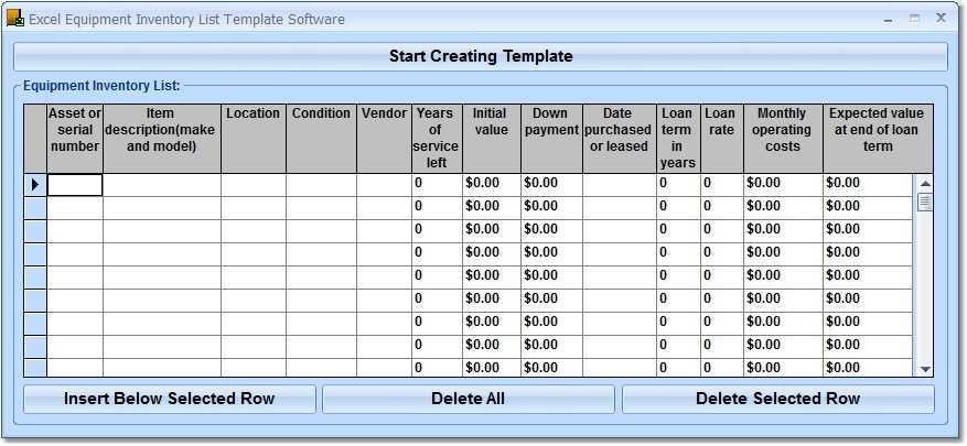 Excel Equipment Inventory List Template Software Free