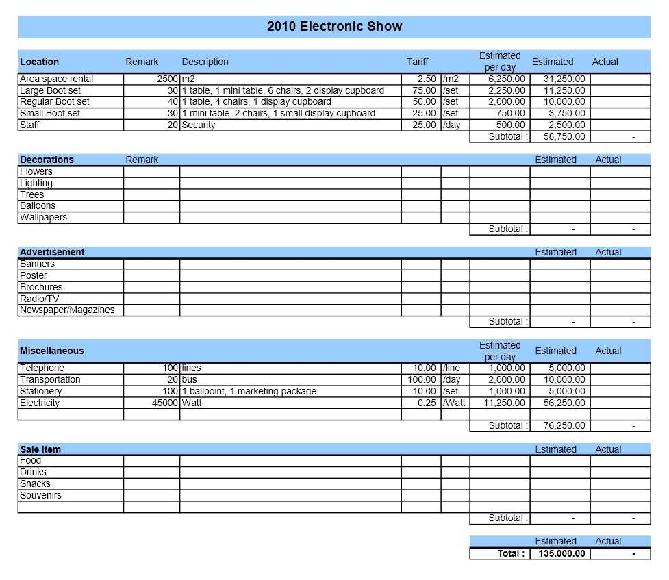 Event Budget ExcelTemplate
