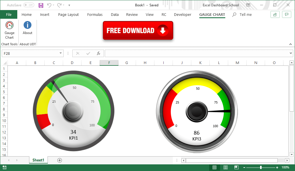 How To Create Gauge Chart In Excel Training And Free Add in