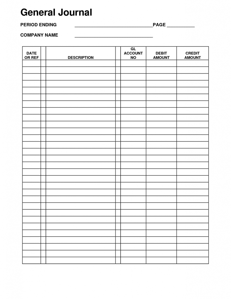 Accounting General Journal Template Journal Template