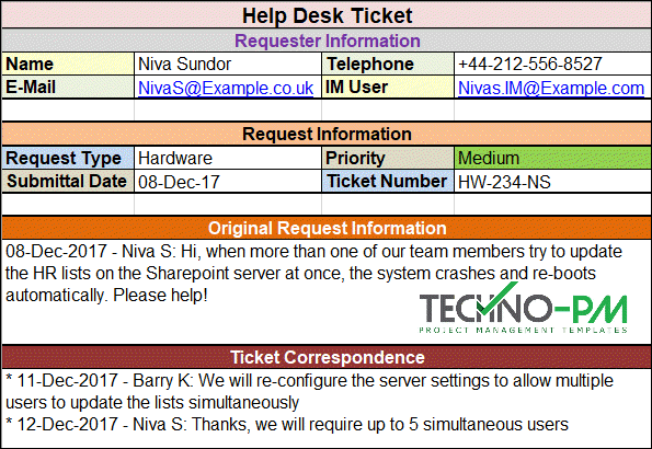 Help Desk Ticket Template Project Management Templates