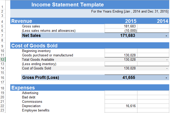 Income Statement Template Excel Free SpreadsheetTemple