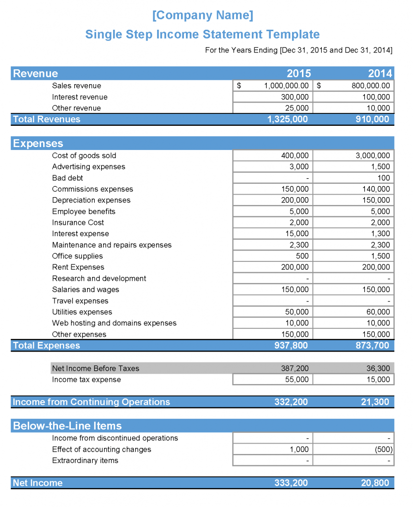 Single Step Income Statement Definition Explanation