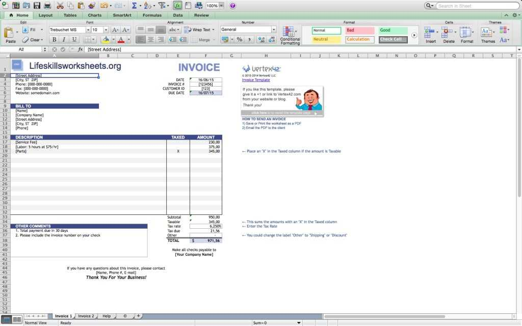 Invoice Template Excel Mac Invoice Example