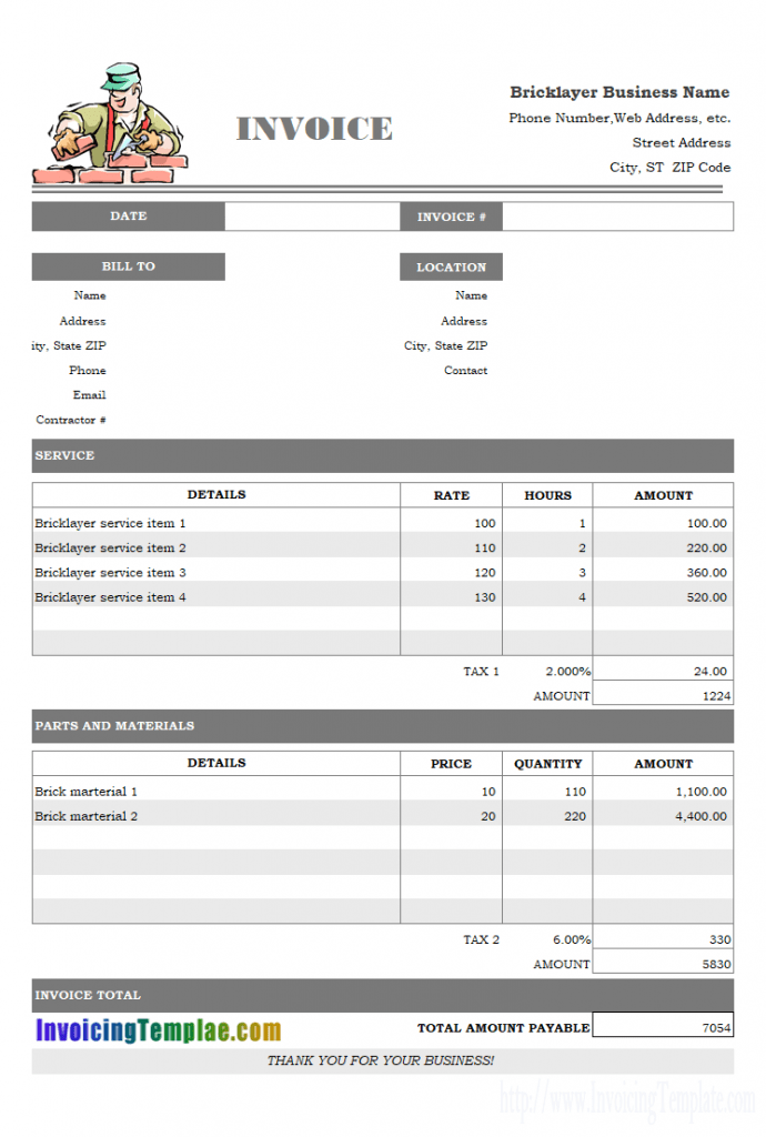 Generate Invoice From Excel Spreadsheet Spreadsheet