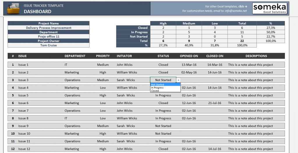 Issue Tracker Free Excel Template To Track Project