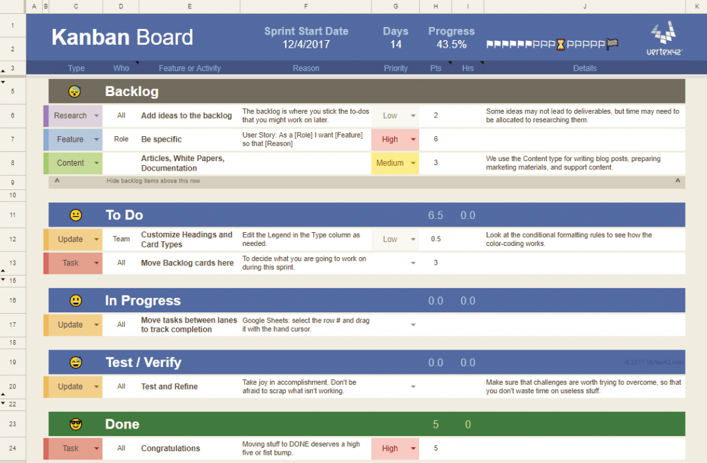 Microsoft Excel Templates Kanban Board Excel Template