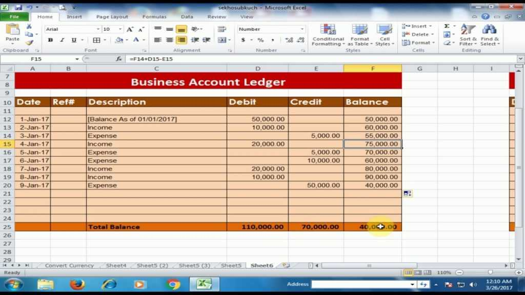 How To Create A Business Accounts Ledger In Microsoft