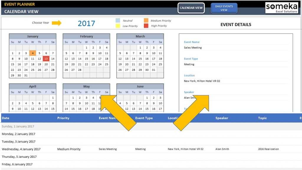 Dynamic Event Calendar Excel Template YouTube