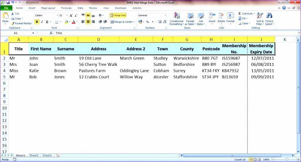 10 Excel Mail Merge Template Excel Templates Excel