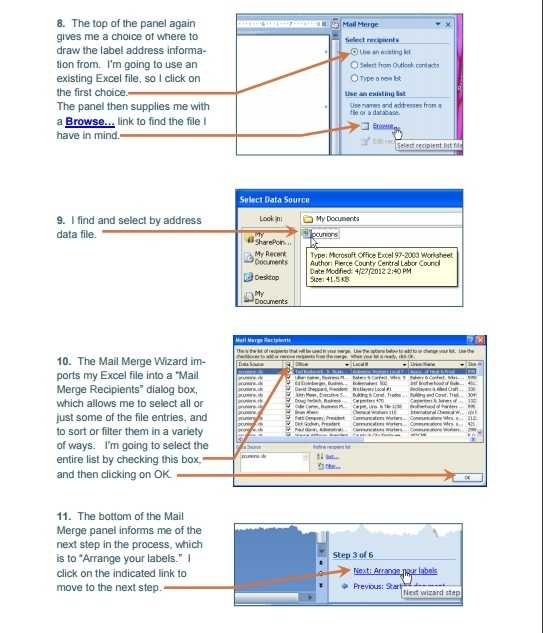 Mail Merge Using An Excel Template Excel Tmp