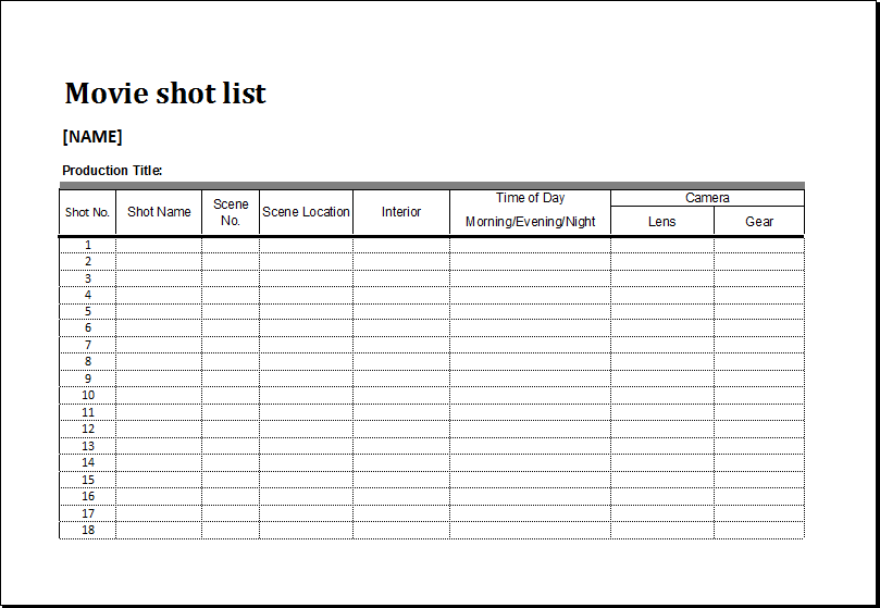 Movie Shot List Template For MS EXCEL Excel Templates