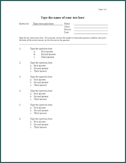Free Printable Excel Multiple Choice Test Template Bogiolo