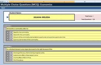 Multiple Choice Test Template Using Excel 15 Questions