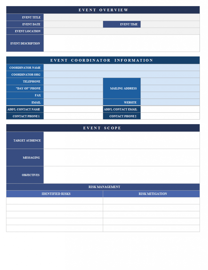 Event Proposal Template Excel Spreadsheet Templates At