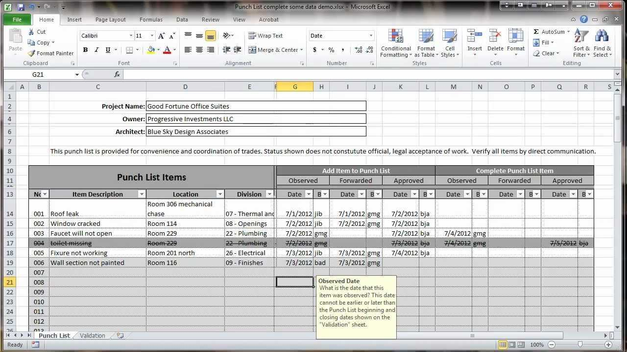 Excel 2010 Construction Punch List Overview YouTube