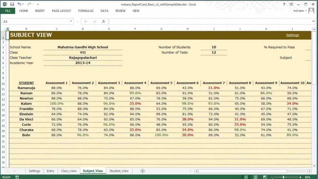 Report Card Basic Excel Template YouTube