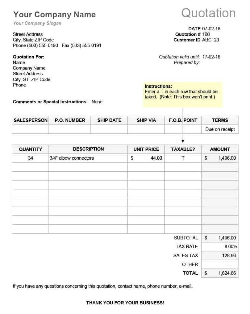 RFQ Template Excel Or Word Format Printable Excel124