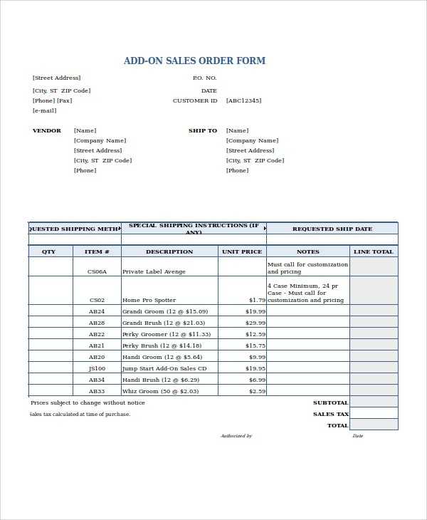Excel Order Form Template 19 Free Excel Documents