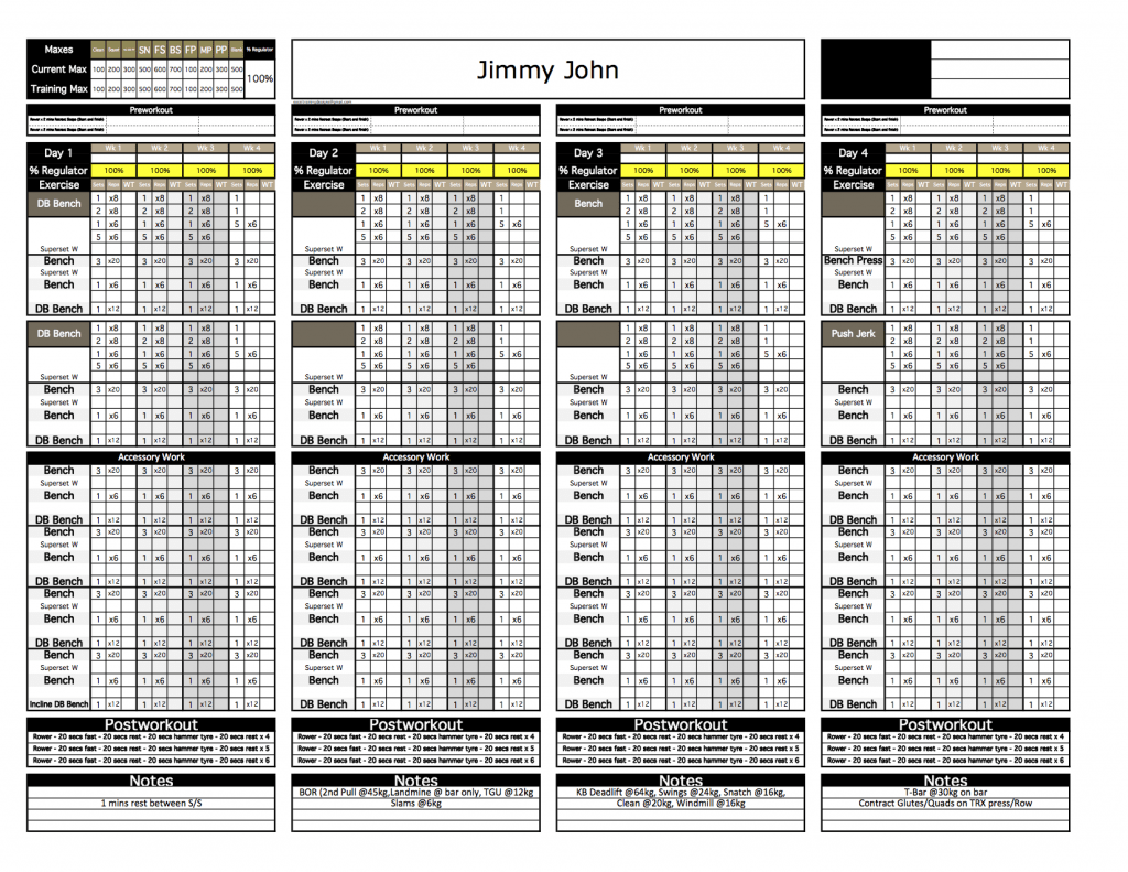 Platinum Strength Conditioning Excel Template Excel
