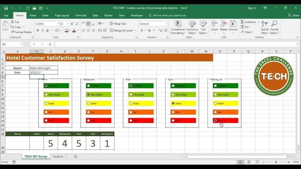 TECH 007 Create A Survey In Excel Using Option Buttons