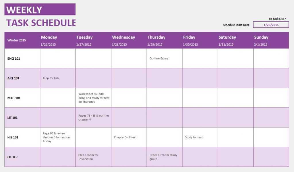Weekly Student Task Template
